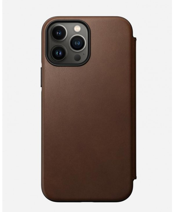 Nomad iPhone 13 Pro Max case Modern Leather Folio (Rustic Brown)